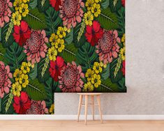 Upgrade your walls with this elegant Botanical Wallpaper adding an exclusive touch to your personal style and surprise your family and friends. Botanical Wallpaper, Wallpaper Decor, New Wallpaper, Fabric Wallpaper, Temporary Wallpaper, Self Adhesive Wallpaper, Tropical Decor, Tropical Leaves, Cool Patterns