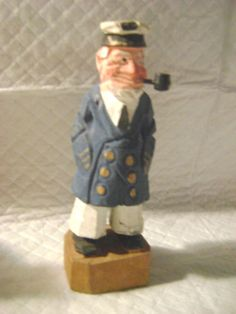 2 Hand Carved Wood Nautical Navy Sailor Seaman New England Folk Art Sculptures Maritime Folk Art