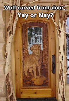 Carved Doors Wooden Ideas Wood Doors Are Warm and Welcoming Carved Doors Wooden Ideas. Custom wood doors, whether elegant or rustic, are a durable choice that can really set off the style of your h… Cool Doors, Unique Doors, Pine Doors, Wooden Doors, Timber Door, Log Cabin Homes, Log Cabins, Door Knockers, Doorway