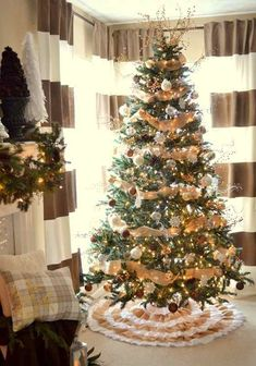 Decorated christmas trees with burlap