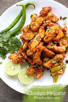 Chicken Majestic – a famous Hyderabadi chicken starter Very tasty and spicy Hyderabadi restaurant style Chicken majestic recipe.It is an Indo-Chinese recipe mostly served as an accompaniment to alcohol………. Indian Chicken Recipes, Veg Recipes, Indian Food Recipes, Asian Recipes, Cooking Recipes, Healthy Recipes, Indian Starter Recipes, Chicken Starter Recipes, Skillet Recipes