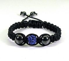 Macrame Bracelet Black w Royal Blue Pave Bead and Hematite by hcltreasures196 for $14.00