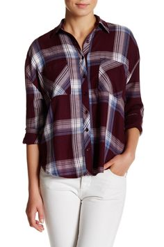 Mad about plaid!  Abound Long Sleeve Plaid Blouse