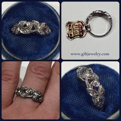 This is an amazing c1940, never-worn, pavé set 14k diamond ring with its original tag. $1195. Call to purchase. #giltjewelry #vintage #1940 #diamond #wedding #engagement #sparkle #nos