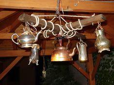 Hand made chandelier from repurposed vintage tea pots. Vintage Tea, Luster, Track Lighting, Repurposed, Tea Pots, Chandelier, Ceiling Lights, Handmade, Home Decor