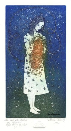 "Marina Terauds. ""The Girl Who Knitted Her Dreams"". 2012. Etching, Aquatint."
