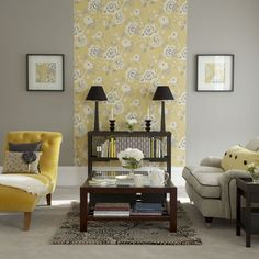 Can't believe I am saying this, but I love the yellow and gray wallpaper. (accent wall behind bed)
