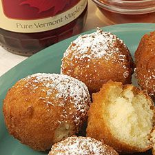 """vermont doughnut holes ... Never mind the doughnut—this recipe is an easy way to make only the holes, crunchy little nuggets perfect for dipping into maple syrup. There's no finicky rolling or rising involved. Instead, simply stir up a stiff pancake-like batter and drop it by spoonfuls into a shallow (1"""") bath of hot oil. Four minutes later—golden brown, ultra-crisp doughnut holes, golden and tender inside, ready to sprinkle with cinnamon sugar or confectioners' sugar, or dunk in maple syrup…"""