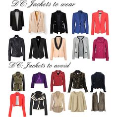 "Jackets for Dramatic Classic by wichy on Polyvore | NOTE: Kibbe wrote, ""Jackets are a mainstay of your wardrobe, and you should have them for every occasion. They should be crisp and tailored, with sharp shoulders and elongated line. The shortest jacket that is sophisticated enough for you is cropped to rest at the top of the hipbone and has a very sleek, streamlined effect. Double-breasted jackets are also quite effective on you."""