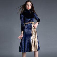 European and American Women\'s Winter 2016 Collar Spliced Long Sleeve Velvet Dresses