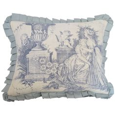 19th Century Blue and White Toile Pillow | From a unique collection of antique and modern pillows and throws at https://www.1stdibs.com/furniture/more-furniture-collectibles/pillows-throws/