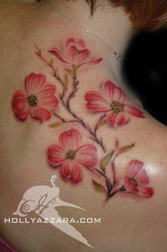 Beautiful, soft-looking Dogwood Tattoo.