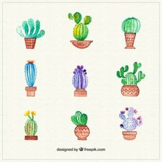 More than 3 millions free vectors, PSD, photos and free icons. Exclusive freebies and all graphic resources that you need for your projects Cactus Drawing, Cactus Painting, Rainbow Painting, Plant Illustration, Watercolor Illustration, Easy Watercolor, Watercolor Paintings, Cool Designs To Draw, Cactus Ceramic