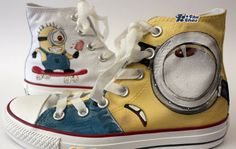 #minion shoes Despicable Me Shoes Unicorn Custom Painted Shoes Hi,High-top Painted Canvas Shoes