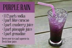 Purple Rain -- a great drink for watching a Ravens game. This is a very popular pin. :)