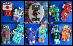 Robot cookies made for a little boy turning 1. Top middle cookie is totally inspired by a cookie made by www.flickr.com/photos/mauzygirl/ Just incredible