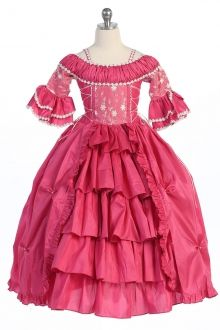 Fuchsia Renasance Style Stunning Poly-Silk Disigner's Quality Dress with Sleelves