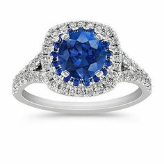 Diamond and Sapphire Engagement Ring with Pave Setting with Round Blue Sapphire