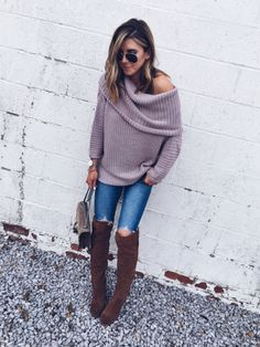 Chunky knits, distressed denim, and OTK boots create a favorite cozy look for fall. I could live in this soft sweater!  http://liketk.it/2py1A @liketoknow.it #liketkit