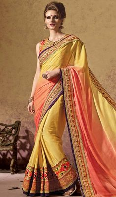 True magnificence comes out out of your dressing design with this salmon & butter scotch lycra saree. The ethnic crystals & resham work at the clothing adds a sign of attractiveness statement with your look. #shadedsarees #indianlooksari #shimmersarisonline