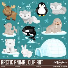 Arctic Animal Clip Art Clipart Set / Personal and Commercial Use / INSTANT DOWNLOAD