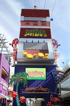 Slotzilla Las Vegas - Exciting zip line thrill attraction at Fremont Street Experience.