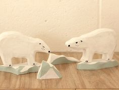 Polar bear set with ice bergs Craft Shop, Imaginative Play, Handmade Crafts, Polar Bear, Workshop, Shops, Felt, Ice, Group