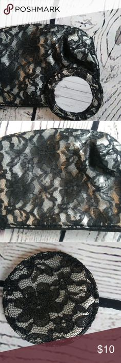 Nine west black lace makeup bag with mirror Nine west black lace make-up bag with lace back mirror. This is great black little bag with round mirror. Nine West Bags Mini Bags
