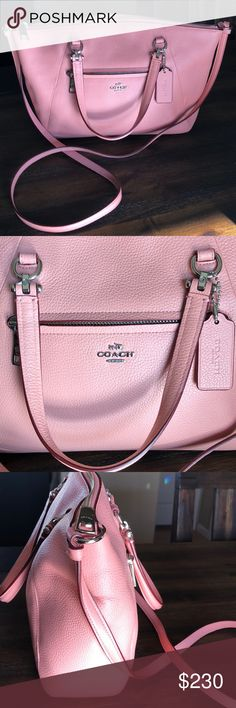 Light coral color Coach mini hand bag Like new, in perfect condition!  Really cute bag for Spring and Summer!  Doesn't match my pink dresses and tops!  Smoke free home Coach Bags Mini Bags