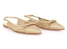 NEW $900 DOLCE & GABBANA Gold Woven Leather Slingbacks Pumps Shoes EU40 / US9 #DolceGabbana #Slingbacks