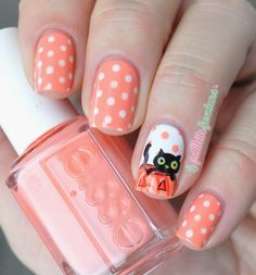 nailstorming halloween - cute black cat kitty in curved pumpkin
