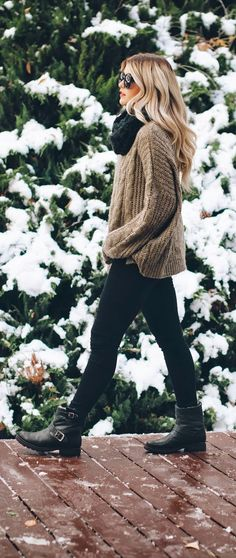 Winter Warmth: knit sweater, chunky scarf, leggings, and Frye boots.