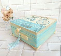 """Купить """"Прованс. Поездка"""" Шкатулка для украшений, рукоделия, винтаж - винтажный стиль, шкатулка, шкатулка для украшений Vintage Shabby Chic, Vintage Wood, Cigar Box Crafts, Altered Cigar Boxes, Wood Crafts, Diy Crafts, Sweet Box, Casket, Wood Boxes"""