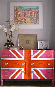 add a pop of color to a room by painting your furniture. this looks amazing.