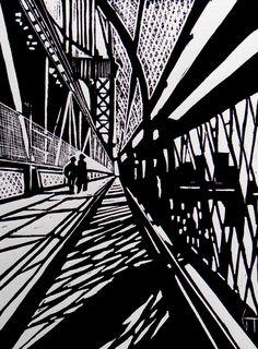 Brooklyn Bridge - New-York - Linocut, Geraldine Theurot, Print