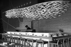 Fancy Chandelier fish shape pendant light for hotel Cafe Restaurant, Restaurant Design, Seafood Restaurant, Seafood Market, Ceiling Decor, Ceiling Design, Beach House Lighting, Hotels For Kids, Chandelier Art