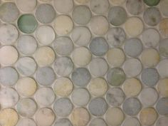 Come checkout out this gorgeous stone and galss pennyround mosaic tile available at #TileSensations $54.39 / sq ft #MosaicMonday
