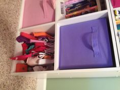 """""""Closet"""" for doll clothes in a storage cubicle. Girl Dolls, Baby Dolls, Doll Storage, Baby Doll Clothes, Clothing Storage, Cubicle, Doll Stuff, Diy Doll, Kids House"""