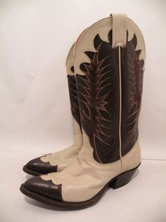 Vintage Nocona cowboy boots, with a great brown and cream design.