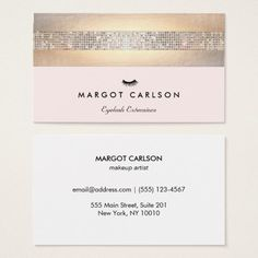 sequin and gold light pink eyelash extensions business card - Lash Extension Business Cards