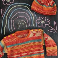 Sunshine stripes pullover and hat - kids' sweater and hat knitting pattern