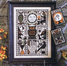 A spooky sampler for Halloween with witches, cats, owls, crystal balls and palm reading.