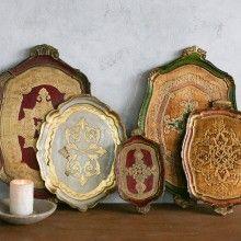 Vintage Italian Florentine Tea Trays - Set of Five