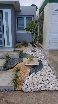 Just like the square/low pot – Gartengestaltung ideen - modern front yard landscaping ideas Garden Design, Front Yard Landscaping Design, Easy Landscaping, Modern Front Yard, Backyard Landscaping Designs, Gravel Landscaping