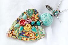 Valentine Heart Mosaic Pendant by lisabetzoriginals on Etsy, $45.00