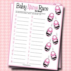 Baby Name Race baby shower baby shower ideas baby shower idea baby shower party themes baby shower game baby shower party game baby twins baby girl baby shower