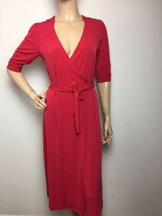 Merona Women's Red Wrap Three Quarter Sleeve V Neck Dress Small    eBay