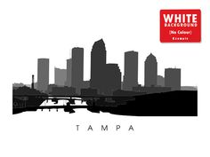 Tampa Skyline Art Florida City Poster Print by CartoCreative