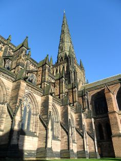 One of the three Spires of Lichfield Cathedral, the only Medieval three spired cathedral in England. Staffordshire, England.