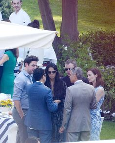 Ex-bachelor George Clooney was spotted the day after tying the knot catching up with his Hollywood friends as his wife Amal Alamuddin continued the celebrations. The couple hosted a brunch at the Hotel Cipriani in Venice, Italy on Sept. 28, 2014, including guests Matt Damon, wife Luciana Barroso, John Krasinski and Emily Blunt.